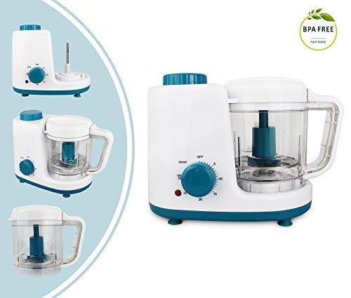 *Leogreen – Baby-Küchenmaschine, Mixer für Babynahrung, Weiß/Blau, Funktion: 2 in 1 Dampfgarer und Mixer, Spannung: 220-240 V*
