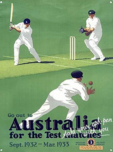MiMiTee Australia - Test Match Cricket Blechschild Vintage Metall Warnschilder Eisen Art Plaque hängen Poster Auto Promi Hof Garten Cafe Bar Pub öffentliches Geschenk
