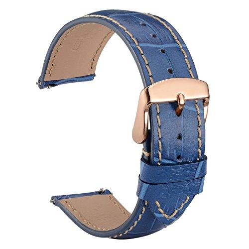 WOCCI 20mm Alligator Geprägtes Uhrenarmband mit Schnalle Roségold, Schnellverschluss (Blau)