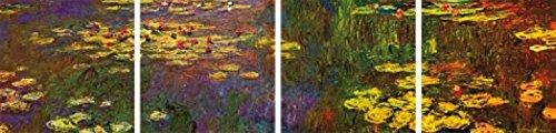 1art1® Claude Monet - Nymphéas, Water Lilies, 4 Parts Cuadro, Lienzo Montado Sobre Bastidor (160 x 40cm)
