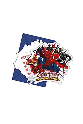 KULTFAKTOR GmbH Spiderman-Einladungskarten mit Umschlag The Amazing Spiderman 6 Stück blau-rot 12x12,5cm Einheitsgröße