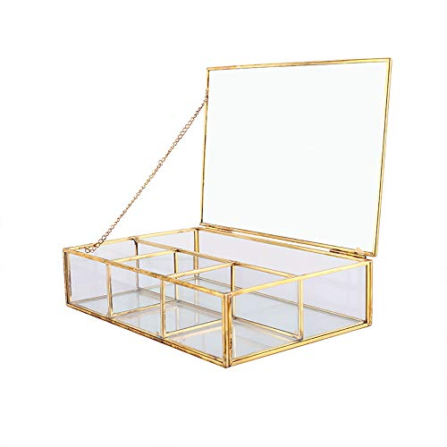 Kreative Heimat Glas Aufbewahrungsbox, dekorative Retro Kupfer Rand Licht Wohnzimmer Schlafzimmer Büro Kosmetik Ohrringe Ring Staub Aufbewahrungskorb