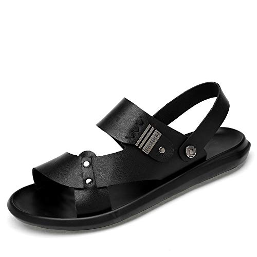 Apragaz Herren Sandalen Open-Toe Strap Sportlich Sommer Strand Sandale Outdoor Walking Dual-Zweck Hausschuhe (Color : Schwarz, Größe : 45 EU)