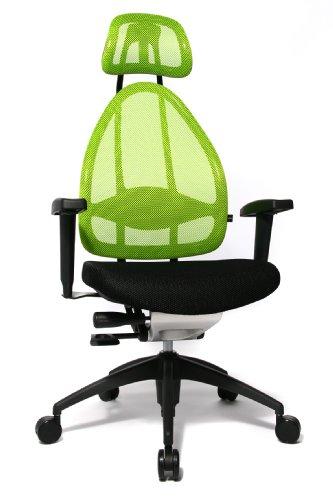 Topstar Open Art 2010 ergonomischer Bürostuhl, Schreibtischstuhl, inkl. höhenverstellbare Armlehnen, Rückenlehne und Kopfstütze, Stoff schwarz/ grün