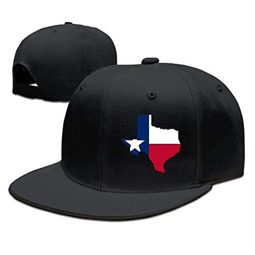 Confederate Flag Design (WellShopping Map of Texas Flag Design Solid Flat Bill Hip Hop Snapback Baseball Cap Unisex Sunbonnet Hat,Snapback Hats Women Men Adjustable Baseball Cap Hats)