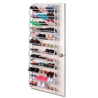 Over Door White Shoe Rack Organiser - 36 Pair Storage Unit - 12 Tier Plastic and Metal Hanging Shelf for Men and Ladies - Flat, Narrow Stand by ASAB