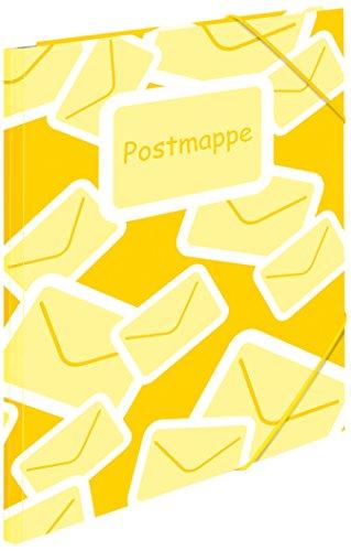 Herma 7129 Postmappe für Kita, Kindergarten und Schule (DIN A4 Sammelmappe aus Kunststoff, für Lehrer- und Elternpost, mit Gummizug) gelb, 1 Stück