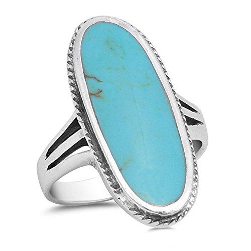 Sac Silver Herren Damen - 925 Sterlingsilber Sterling-Silber 925 Oval Blue Künstlicher Türkis