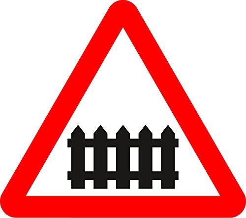 Bahnübergang mit Schranke oder Tor Ahead Road Safety Sign Schild aus Aluminium–3mm mit 2Streifen Kanal ausgestattet, um hinten für die Montage auf Post 300mm x 300mm