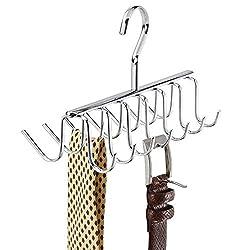 iDesign Axis Krawattenhalter, Bügel aus verchromtem Metall mit 14 Haken für Gürtel und Krawatten, silberfarben