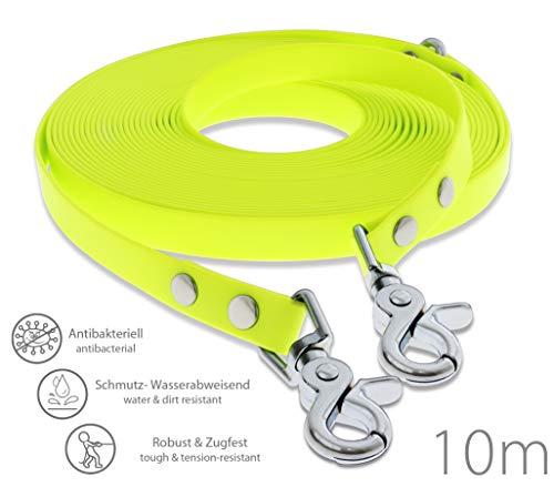 SNOOT Schleppleine 10m - Neon-Gelb - zugfeste, schmutz- und Wasserabweisende Hundeleine mit Zwei Karabiner und D-Ring