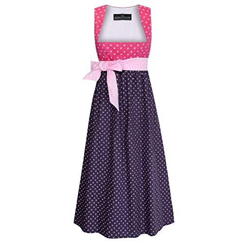 Trachten für Schwangere Marlene in Pink und Lila mit Blumen und rosa Schleife