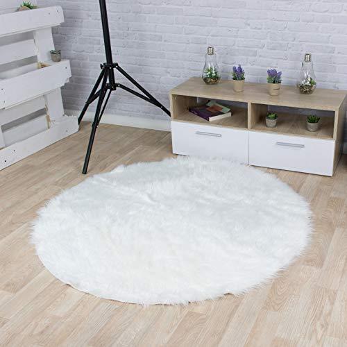 Taracarpet Kunstfell Teppich weiß 060x060 cm rund Schaffell Imitat Wohnzimmer Schlafzimmer Kinderzimmer auch als Bett-Vorleger oder als Matte für Stuhl Sofa