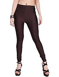 Comix Women Cotton Lycra Fabric Comfort Fit Ankle Length Plain Leggings (Dark Brown,XXL)