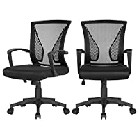 Yaheetech Set of 2 Ergonomic Mid Back Desk Chair Adjustable Swivel Office Chair Study Computer Task Chair with Comfort Breathable Lumbar Support Updated Large Seat