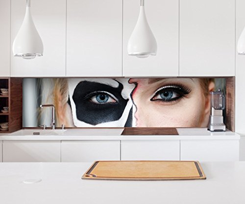 Aufkleber Küchenrückwand Monster Gesicht Horror Maske halb Frau Folie selbstklebend Dekofolie Fliesen Möbelfolie Spritzschutz 22A775, Höhe x Länge:60cm x 60cm (Frau, Das Gesicht Halb-maske)