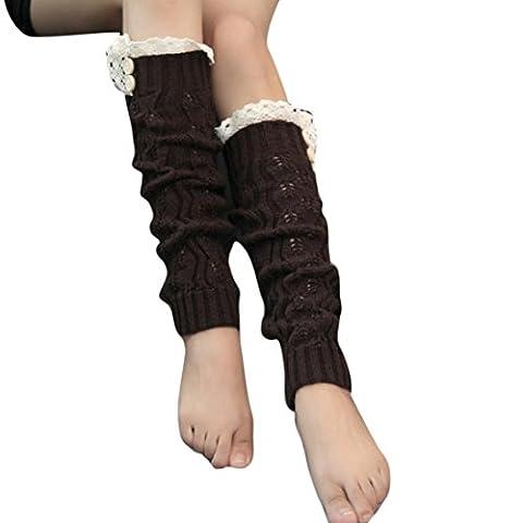 OverDose Femmes d'hiver Crochet chauffant Tricoter botte de jambe Chaussettes Toppers Menottes (Café)