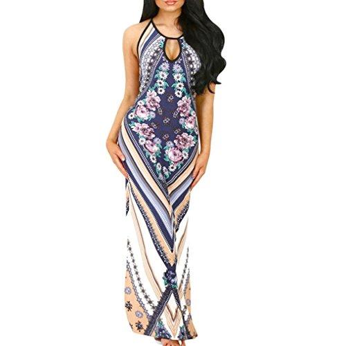 Xiahbong Frauen Bohemien Strand Langes Kleid Sommer Blumendruck Ärmellos (S, Blau) (Rosette Pullover Kleid)