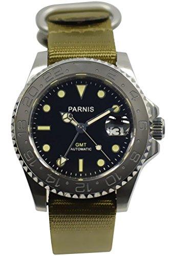 PARNIS 3002 GMT 41mm Herren-Automatikuhr Markenuhrwerk MZ-3814 Saphirglas Edelstahl-Gehäuse NATO-Armband Keramiklünette 5 Bar wasserdicht