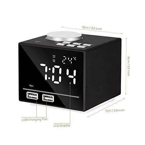WELQDM Multifunktions-Smart-Wecker-Elektronische Wecker-Mit Bluetooth-Lautsprecher, LED-Nachttischlampe, FM-Radio, Schlummerfunktion, Dual-USB-Port-Ladegerät