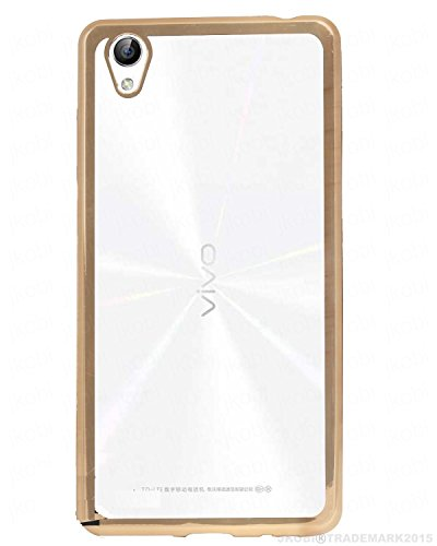 Vivo Y51L Transparent Gold Border Back Cover Premium Crystal Clear Case by ScudomaxTM