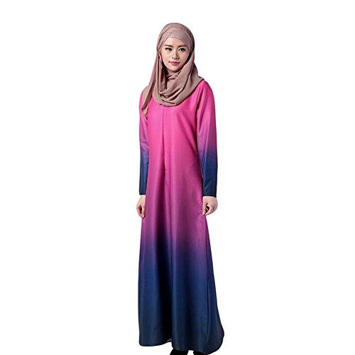 Haodasi Muslim Gradual Change Lange Ärmel Kleid Abaya Damen Cocktail Gown Robe Rose