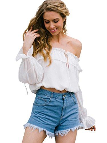 Simplee Apparel Damen Blusen Elegent Chiffon Langarm Schulterfrei Shirt Oberteille Kurz Blusen mit Rüschen Weiß Weiß