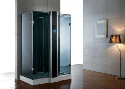 Dampfdusche/Wellnessdusche WS123 1500 x 900 x 2240mm Rückwandfarbe: schwarz