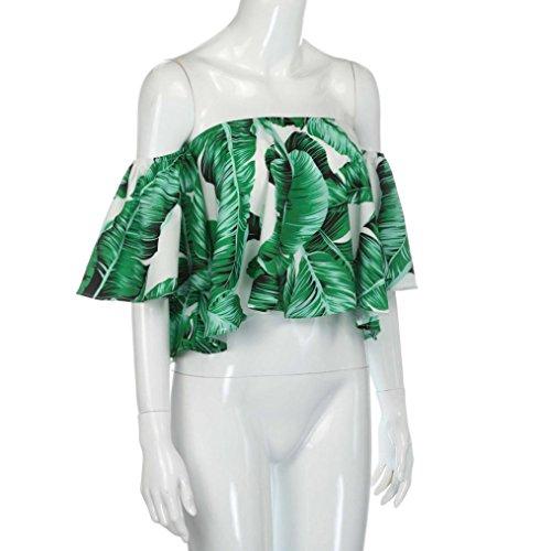 BYSTE Camicetta senza bretelle classica casuale delle donne del manicotto di scoppio delle donne Verde