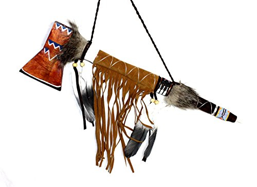 Indianer Kostüm Tomahawk - Hejoka-Shop Indianer Tomahawk Pfeife 50 cm. Friedenspfeife aus Holz mit Leder umwickelt, Fasching Fotoshooting