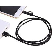 Forepin® 2 in 1 USB Cavo Nylon Intrecciato Trasmissione Dati Carica per Apple iPhone 7,7Plus,SE, 6, 6Plus, 6S, 6S plus, 5, 5S, 5C, iPad Air, Mini, Mini 2, iPad 4, iPod 5 e iPod 7 -1m (Nero)