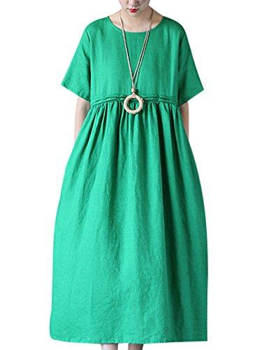Youlee Women's Summer Spring Short Sleeve A-line Dress Style 1 Grün