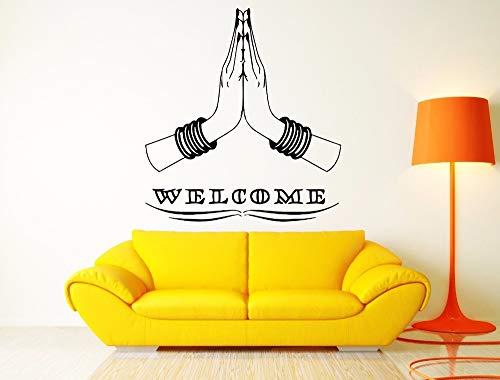 AIPIOR Willkommen zu Hause Wandaufkleber Indischen Hinduismus Stil Wandkunst Wand Hindu Hände Vinyl Wandtattoos Willkommen zu Hause Kunst Dekoration 42x46cm (Baby Willkommen Hause Zu Dekorationen Mädchen)