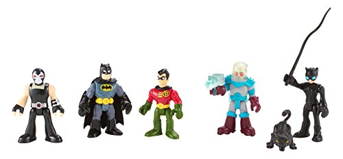 Imaginext DC Super Friends - Heroes & Villains Batman Paquete Con Batman Robin Catwoman Mr. Freeze y Bane.