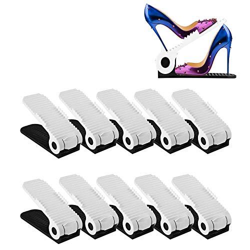 Greenskon Schuh Slots, Verstellbar Schuh Organizer Space Saver Storage Rack Holder 10 PCS Neueste Stile (Black&White)