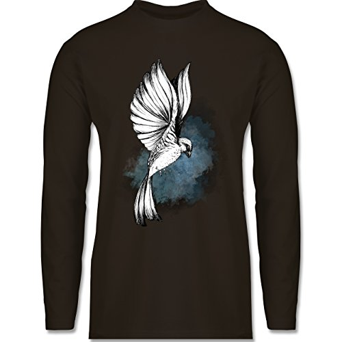 Shirtracer Vögel - Vogel Aquarelle Zeichnung - Herren Langarmshirt Braun
