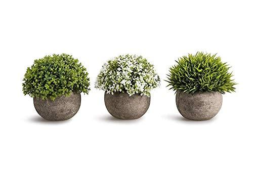 LUKATONI Kunstpflanzen Tischpflanzen Kunstblumen 3er Set Variation Bonsai künstlich mit Topf