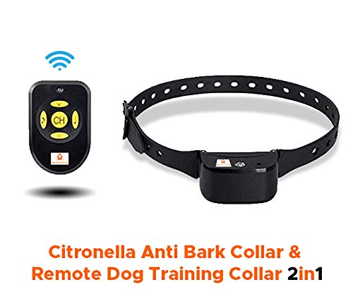 Pet Control HQ Rechargeable Humane Spray Bark Collar for Dogs, Gentle Citronella with No Barking Remote, Ultrasonic Anti-Bark Device, Stop Barking Dog, Water Resistant, S, M, L Fido – IPX3 Waterproof