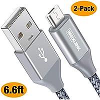 Micro USB Kabel [2 Pack, 2m], BrexLink Micro USB auf USB 2.0 Nylon Geflochtenes Sync- und Schnellladekabel für Android Smartphones und Tablets, Samsung, HTC, Huawei, Sony, Nexus, Nokia und mehr - Grau