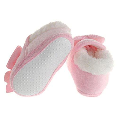 Highdas Neugeborenes Kind Baby Kleinkind Mädchen Warm Bogen Schneeschuhe Baby Wanderer Krippe Stiefel Rosa