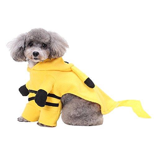Alxcio Haustier Hunde Katzen Mantel mit Hut Warme Kostüm Tägliches Weihnachten Kostüm Gelb - Größe M (Mat Mann Kostüm)