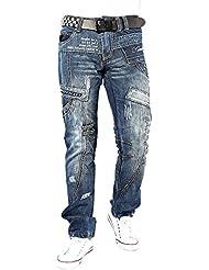 Kosmo Lupo K&M 261 Designer Jeans Homme Cargo Black Bleu Style Clubwear Pantalon W29-W38 / L32-L34