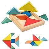 6er Set B&Julian ® Holz mini Tangram Legespiel bunt geometrisch holzpuzzle mit Box Knobelspiel für Kinder