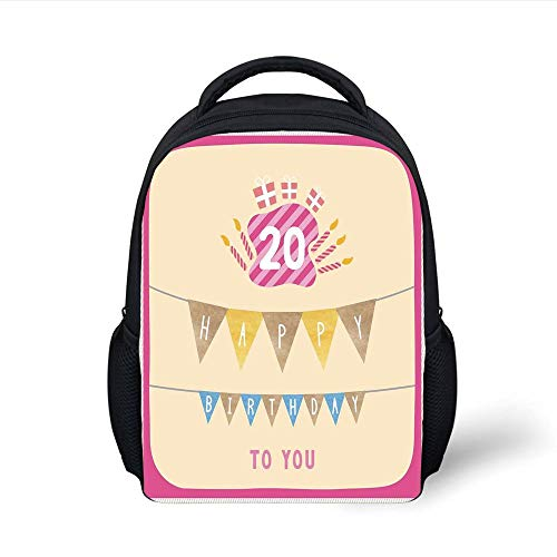 Kids School Backpack 20th Birthday Decorations,Girly Party Themed Cartoon Flags Cakes Boxes Image,Light Pink and Purple Plain Bookbag Travel Daypack - Big 3x5 Flag