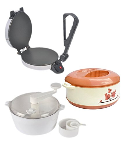 Combo of Bansons Silver Roti Maker with Dough Maker and Casserole