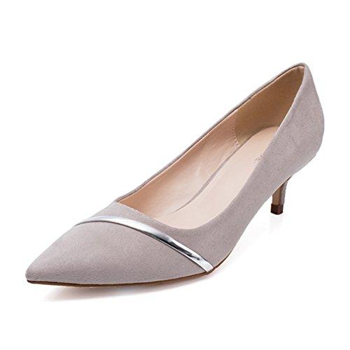 Damen Pumps Slip On Metalle Spitz Zehen Nubukleder Kitten-Heel Arbeitsschuhe Anti-Rutsche Elegant Büro Schuhe Grau dhv0J