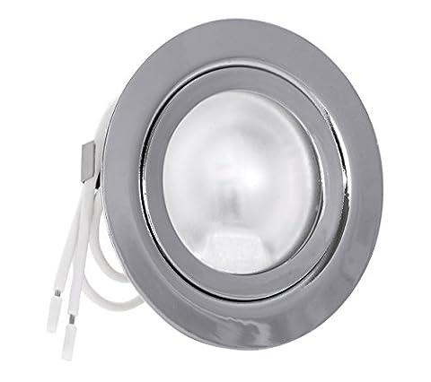 Set Möbeleinbauleuchte Farbe: Chrom glänzend | 12Volt AC G4 20Watt Leuchtmittel inklusive (dimmbar) | Bohrloch: 55-60mm - Außendurchmesser: 72mm - Einbautiefe: 19mm | Leuchtmittel austauschbar - auch für LED