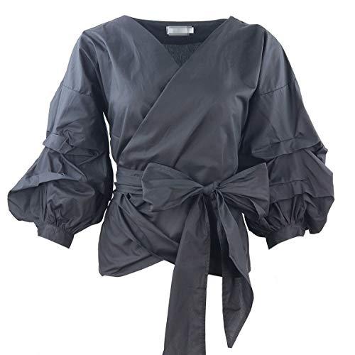 EnergyWomen Wrap Over Front Puff Sleeve Tunic Plunge V Neck Top Shirt Black 3XL -