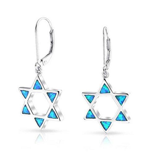 Blue Opal Offenen religiösen Jüdischen David Stern Ohrringe Leverback Für Frauen Für jugendlich Sterling Silber erstellt