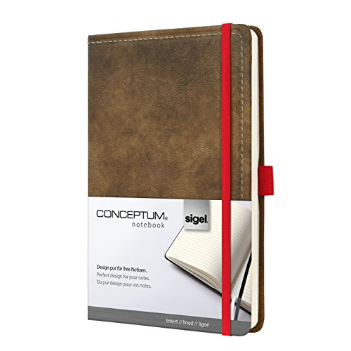 Sigel CO603 Notizbuch, ca. A5, liniert, Design Vintage, Leder-Look, braun CONCEPTUM - große Auswahl